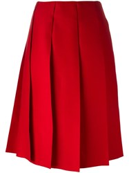 Nina Ricci Pleated Skirt Red