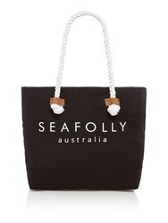 Seafolly Carried Away Ship Sail Tote Black