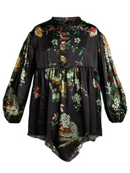 By Walid Nicky Floral Print Silk Blouse Navy Print