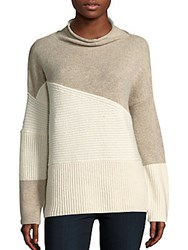 French Connection Patchwork Tonal Wool Blend Sweater Classic Cream