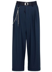 High Giulia Navy Cropped Jersey Culottes