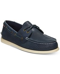 Tommy Hilfiger Men's Perforated Bowman Boat Shoes Men's Shoes Blue