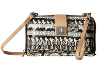 Sakroots Artist Circle Large Smartphone Crossbody Black White One World Cross Body Handbags Beige