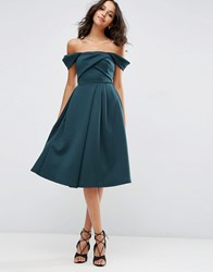 Asos Fold Detail Bardot Scuba Prom Dress Forest Green