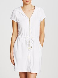 John Lewis Zip Towelling Dress White