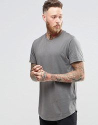 Only And Sons Longline T Shirt With Wide Neck Brushed Nickel Green