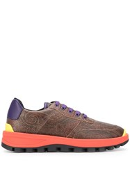 Etro Contrast Sole Sneakers Brown