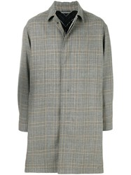 Lanvin Single Breasted Checked Coat Cotton Cupro Virgin Wool Grey
