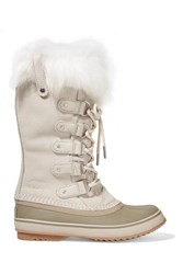 Sorel Joan Of Arctic Faux Fur Trimmed Waterproof Suede And Rubber Boots Cream