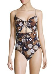 Michael Kors Outline Floral One Piece Swimsuit Nutmeg Multi