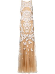 Zuhair Murad Backless Beaded Gown Nude Neutrals