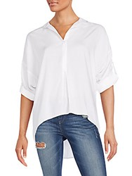 Saks Fifth Avenue Red Lila Roll Sleeve Blouse White