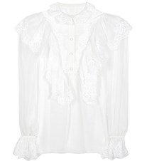 Dolce And Gabbana Silk Blend Blouse With Lace White