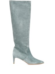 Red Valentino V Pointed Toe Boots Blue
