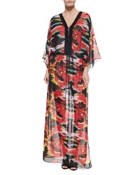 Just Cavalli 3 4 Sleeve Flame Print Maxi Dress