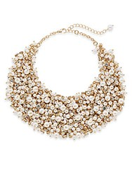 Natasha Faux Pearl Cluster Bib Necklace Gold Pearl