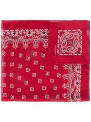 Saint Laurent Bandana Square Scarf Red