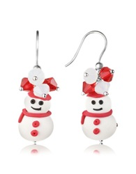 Dolci Gioie Snowman Pendant Earrings With Crystals White