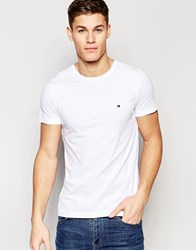 Tommy Hilfiger T Shirt With Flag Logo In Stretch Slim Fit In White White