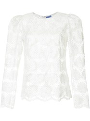 Macgraw Floral Embroidered Blouse White