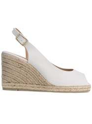 Castaner Open Toe Espadrille Wedges Women Cotton Leather Rubber 40 White