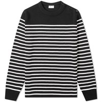 Saint Laurent Stripe Sailor Crew Knit Black