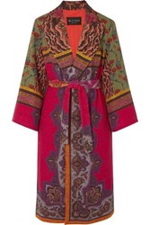 Etro Belted Cotton Blend Jacquard Coat Red