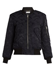 Saint Laurent Camouflage Jacquard Padded Bomber Jacket Navy