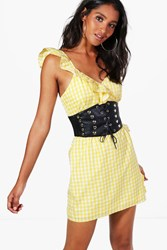 Boohoo Gingham One Shoulder Frill Dress Yellow