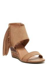 Rampage Winnie Fringe Wedge Sandal Brown