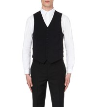 Sandro Single Breasted Wool Waistcoat Navy Blue