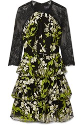 Marchesa Notte Tiered Embroidered Tulle And Lace Mini Dress Black