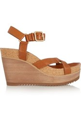 Tory Burch Brenden Textured Leather Wedge Sandals Brown