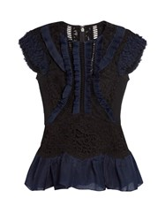 Rebecca Taylor Contrast Panel Lace Insert Peplum Top Black Navy