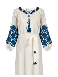 Figue Coco Embroidered Cotton Dress White Multi