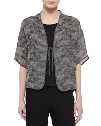 Eileen Fisher Half Sleeve Jacquard Linen Blend Tie Front Jacket Black