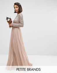Maya Petite Long Sleeve Sequin Top Maxi Tulle Dress With Deep V Back Mink Pink