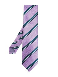 Brioni Striped Tie Pink And Purple