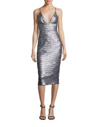 Abs By Allen Schwartz Sequin Slip Dress Silver