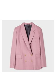 Paul Smith Women's Pink Wool Silk Pique Double Breasted Blazer