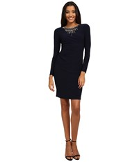 Vince Camuto Long Sleeve Jersey Dress W Heavily Embellished Neckline Navy Women's Dress