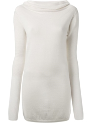 Rick Owens Cowl Neck Sweater White