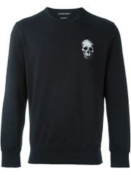Alexander Mcqueen Cross Stitch Skull Sweatshirt Blue