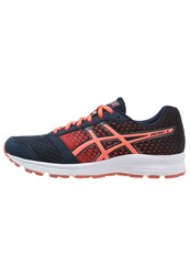 Asics Patriot 8 Cushioned Running Shoes Dark Navy Flash Coral White Dark Blue
