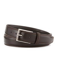 Ermenegildo Zegna Leather Belt W Polished Buckle Dark Brown
