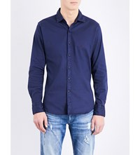 Replay Chambray Flannel Shirt Blue