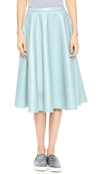 J.O.A. Full Faux Leather Midi Skirt Baby Blue