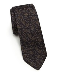 J. Lindeberg Floral Linen And Cotton Tie Brown Multi