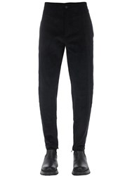 Salvatore Ferragamo Cotton Corduroy Pants W Zip Hem Black