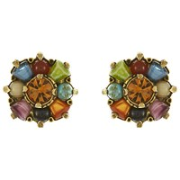 Eclectica Vintage 1970S Miracle Gold Plated Copper Faux Agate And Glass Beads Clip On Earrings Multi